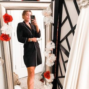 Long black fabric blazer coat white piping